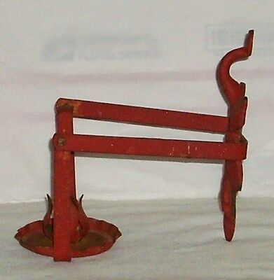 Antique Old Cast Iron Leaf Design Candle Holder Distressed Painted Red