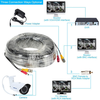 PRE-MADE CABLE CCTV CAMERA BNC VIDEO AND DC 12V POWER 5m 10m 20m 30m BLACK