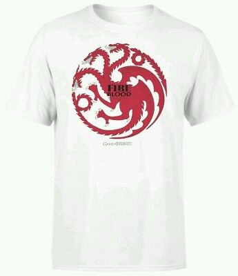 Game of Thrones GoT Tshirt 'Fire and Blood-Targaryen' HBO Produkt 2XL WEISS NEU!
