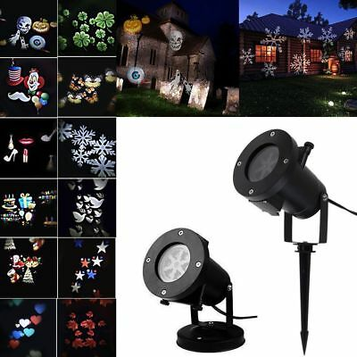 12 Pattern Laser Landscape Projector LED Lights Halloween Xmas Snow US/UK/AU/EU