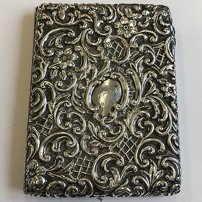 Antique Victorian Fine Quality Solid Silver Card Case 1895 Henry Matthews 10.5cm