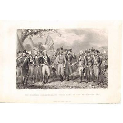 AMERICAN WAR OF INDEPENDENCE British Surrendering to Washington Antique Print