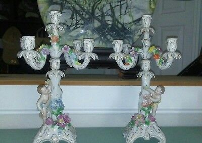 Beautiful Pair of 18in Antique Dresden Candelabra/ candlesticks. Wow!