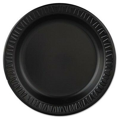 "Dart Quiet Classic 9"" Laminated Foam Dinnerware Plate, Black, 500/Case"