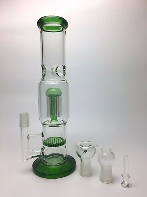 Glass Bong Green Ash Catcher Honeycomb Filter glass water pipe Shisha Dab Rig