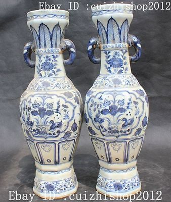 "18"" Chinese Qing Dynasty White Blue Porcelain Elephant Head Pot Bottle Vase Pair"