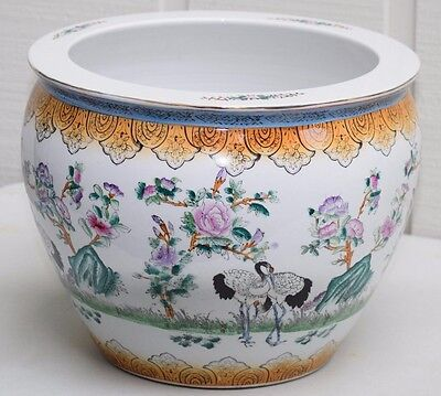 Large Chinese Porcelain Famille Rose Fish Bowl Jardiniere Hand Painted Planter