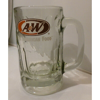 """Vintage A & W Root Beer LARGE Mug A&W Heavy Glass Stein Cup Thumbprint 5 3/4"""""""