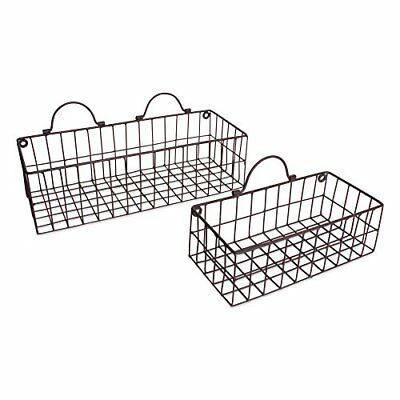Home Traditions Vintage Hanging Wall Mounted Wire Metal Basket Set of 2 for Room