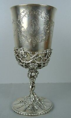 Fine 19Th C,century Sterling Silver Floral French Marked Cup