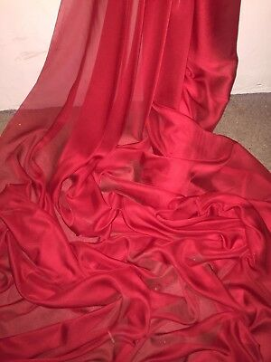 """1 Mtr Red Cationic Two Tone Sheer Bridal Dress Chiffon Fabric...58"""" Wide £2.50"""