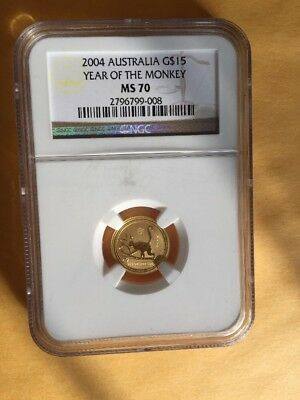 2004 Perth Mint 1/10 gold Year of the Monkey NGC MS70 GEM