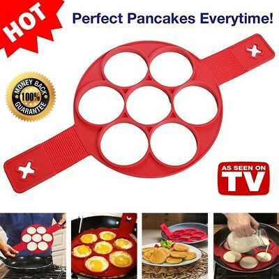 Flippin' Fantastic Non Stick Silicone Pancake Mould Egg Ring Maker As Seen On TV