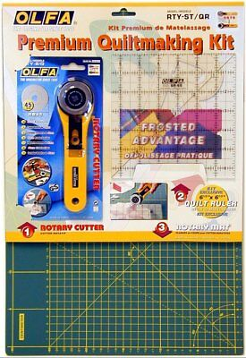 OLFA PREMIUM Quilt makers kit cutting mat, rotary cutter & patchwork ruler