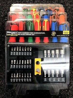 Sale! Sealey Siegen Impact Screwdriver Bit Nut Driver Set 61pce + Storage Rack