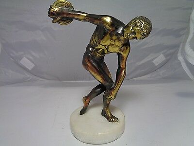 Vintage Discus thrower brass bronze colored metal statue figurine -Office decor
