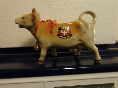 SIGHNED-Vintage Creamer Cow Creamer From  Switzerland With Bell