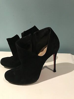 6491a17d46c CHRISTIAN LOUBOUTIN BROWN Suede Ankle Boots Sz 37 Heel