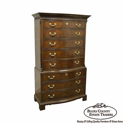 Drexel Heritage Heirloom Tall Flame Mahogany Chippendale Style Chest on Chest
