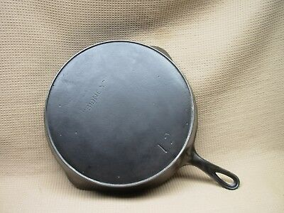 "Large Antique Cast Iron Number 12 Skillet With Heat Ring Marked "" Sidney """