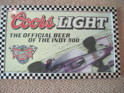 2002 Coors Light Indy 500 Official Beer Mirror Flag Pattern Frame