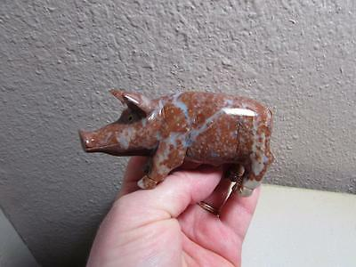 Pig, Hand carved Marble from the Andes of Peru. Multi colored Stone Pig, Unique
