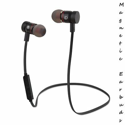 Wireless Phone Magnetic Bluetooth Headset Stereo Earbuds Headphone Audio Workout