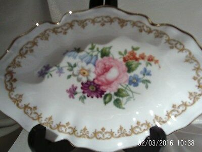 """Crown Stffordshire Oval Floral Trinket Dish With Fancy Edge.  6.75"""" X 4.5"""""""