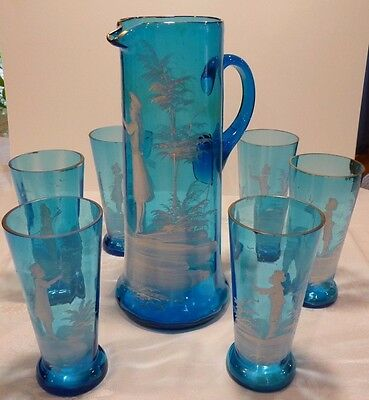 MARY GREGORY BLUE GLASS HAND PAINTED HAND BLOWN PITCHER 6 TUMBLERS ANTIQUE 1800s