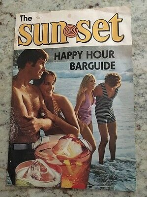 Vtg Original 1973 The Sunset Southern Comfort Happy Hour  Bar Guide Recipes