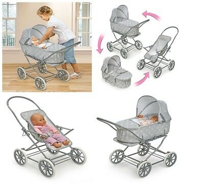 Baby Doll Stroller Toy For Girl Kid Pretend Play Life Like Mommy Bassinet 3 In 1