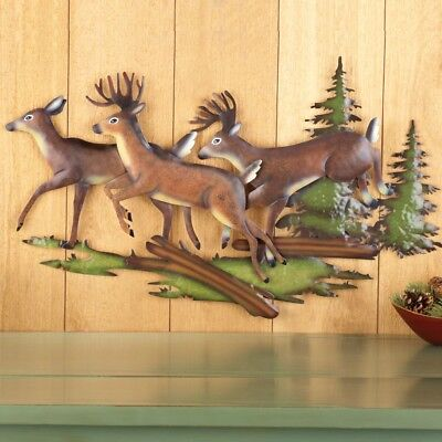 Rustic Northwoods Deer Pine Trees Metal Wall Art Hanging Lodge Cabin Home Decor