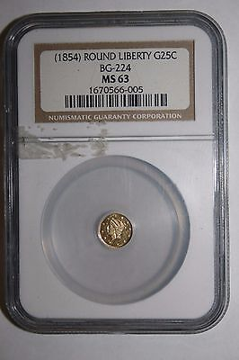 1854 Round Liberty Gold 25 Cent  BG-224 NGC MS 63