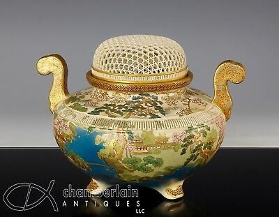 Beautiful Old Japanese Satsuma Covered Censer Koro With Openwork Cover