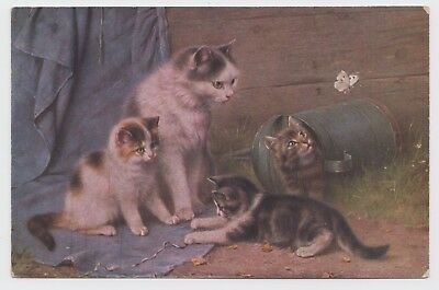 POSTCARD - artist drawn, cat & three kittens, butterfly insect