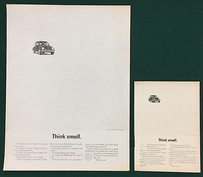 "1962 VW ""THINK SMALL"" Ads TWO: 10-1/2"" X 13-3/4"" & 5-1/4"" x 7-1/4"" Volkswagen"