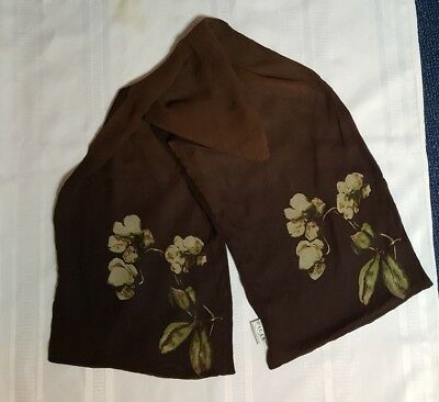 Oscar De La Renta Designer 100% SILK Double Sheer Scarf Japan Brown Pale Green