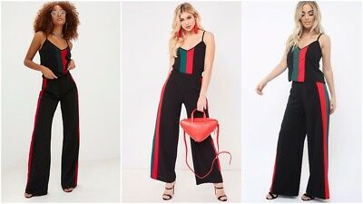 Womens Ladies Stripe Print Palazzo Top Joggers Loungewear Culottes Tracksuit Set