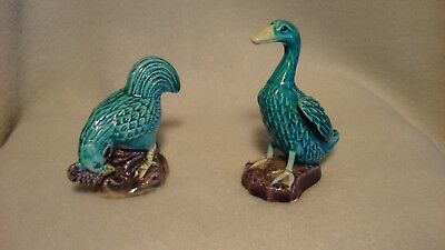"Vintage Miniature Ceramic 2.5"" Turquoise Blue Rooster and Duck Goose"