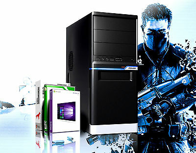 GAMER PC AMD Quad Core A10 4655 8GB RAM 1000GB HDD Radeon HD7620 Windows 10 Pro