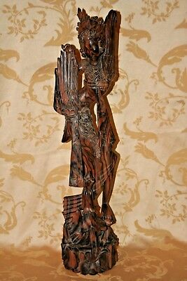 """STUNNING Antique Asian Style 25"""" Tall Hand Carved Zebrawood Goddess Sculpture"""