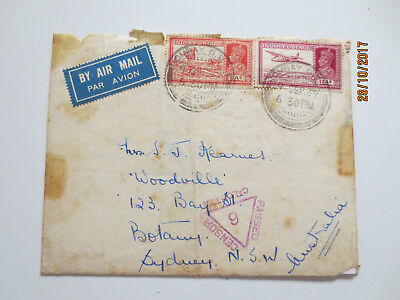 No--4--1939   INDIA  POSTAGE    AIRMAIL    ENVELOPE   --OLD  CONDITION