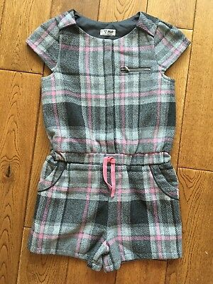 Next Girls Grey And Pink Check Wool Playsuit Fully lined Age 8 Years