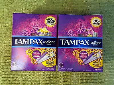 Lot 2 TAMPAX Radiant Tampons REGULAR Unscented 16ct LEAK-FREE Plastic Applicator
