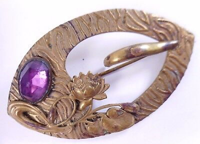 Antique Large Antique Victorian Brass Flower Purple Glass Sash Pin Brooch