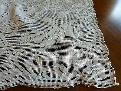 Antique Figural Mixed Hand Made Lace Hunter Reticella  Embroidery Runner MONO 2