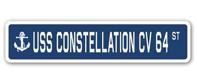 "USS Constellation Cv 64 Street [3 Pack] of Vinyl Decal Stickers 1.5"" X 7"""