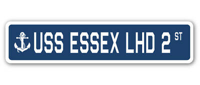 "USS Essex Lhd 2 Street [3 Pack] of Vinyl Decal Stickers 1.5"" X 7"""