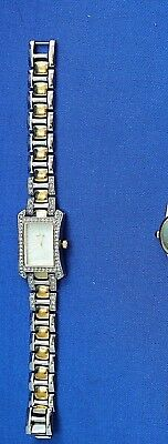 Anne Klein Silver & Gold Cz Wrist Watch New Battery Runs Great