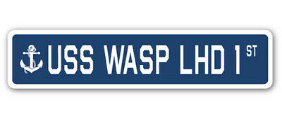 "USS Wasp Lhd 1 Street [3 Pack] of Vinyl Decal Stickers 1.5"" X 7"""